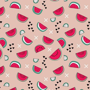 Summer watermelon fruit illustration fun kids design in colorful red and pink