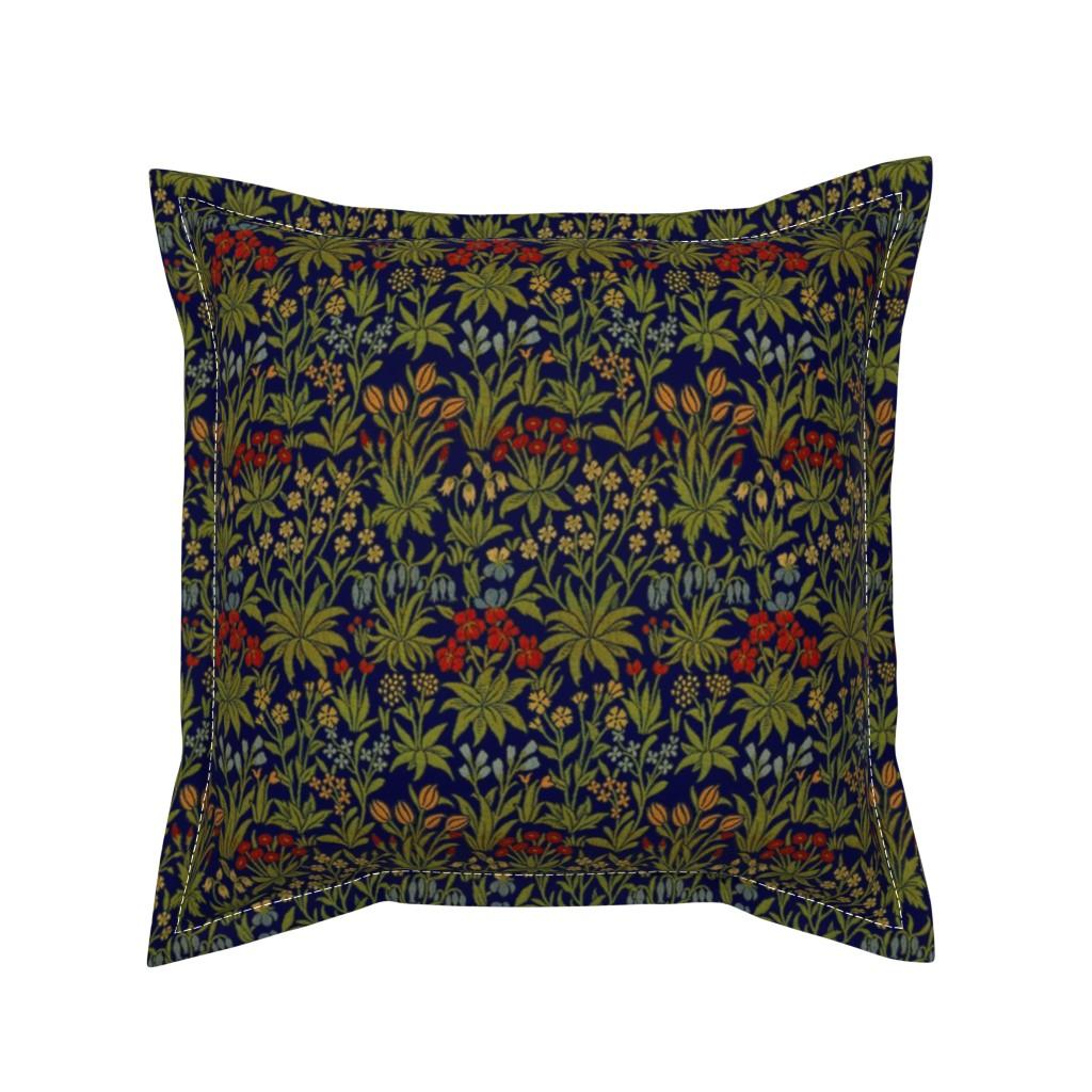 Serama Throw Pillow featuring William Morrison ~ Millefleur ~ Trafalgar Blue and Bright by peacoquettedesigns