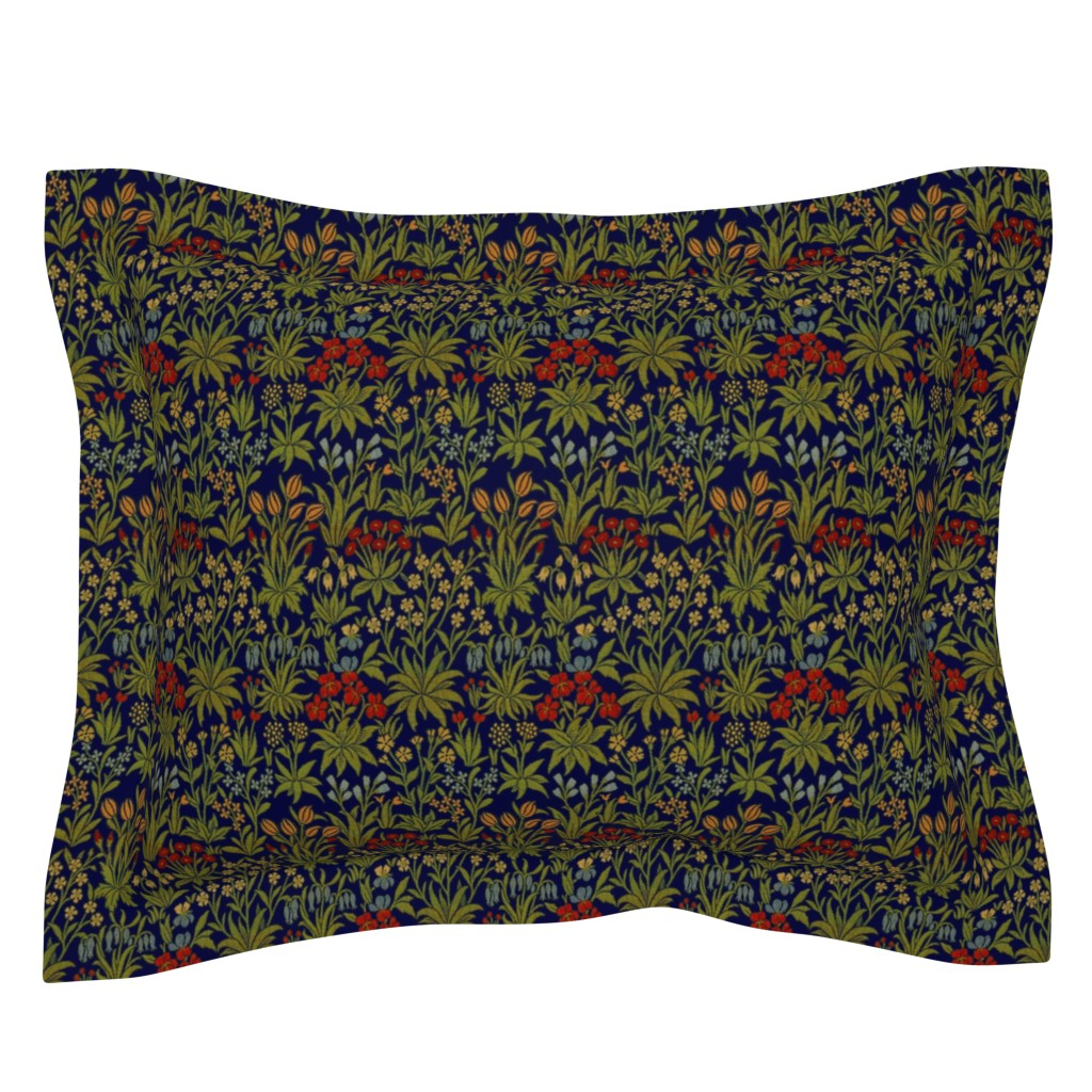 Sebright Pillow Sham featuring William Morrison ~ Millefleur ~ Trafalgar Blue and Bright by peacoquettedesigns