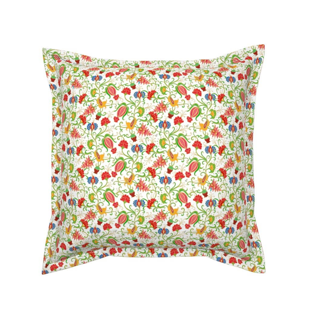 Serama Throw Pillow featuring Colorful floral paisley with pomegranates by dariara