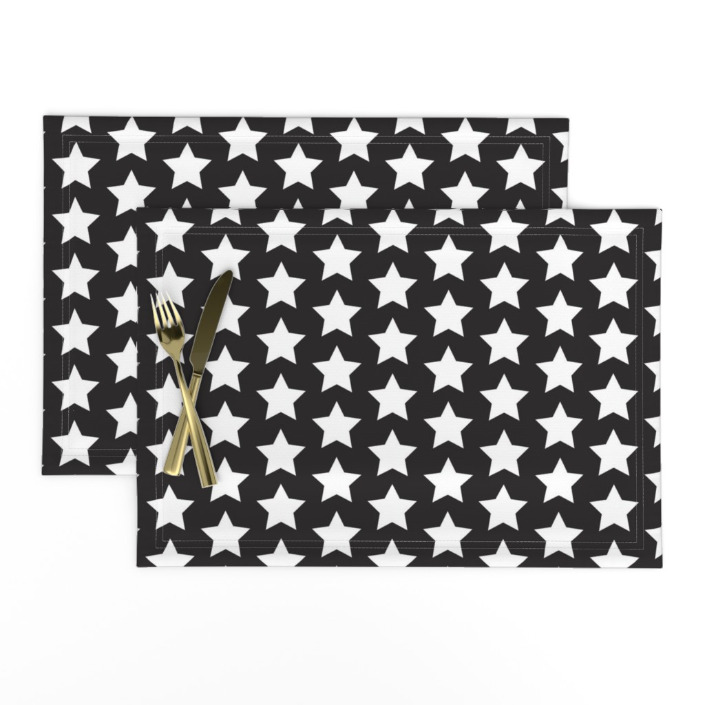 Lamona Cloth Placemats featuring White star on black by rebelinn