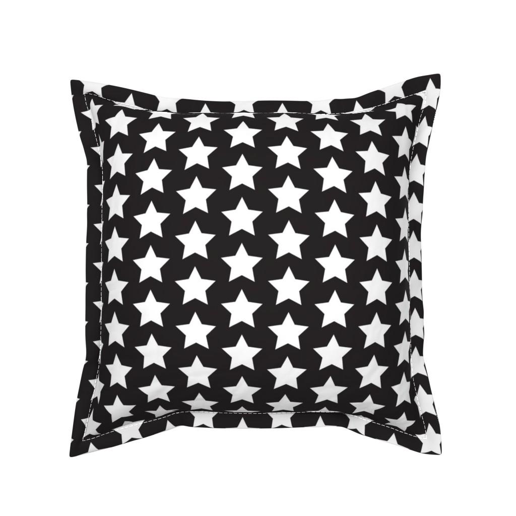 Serama Throw Pillow featuring White star on black by rebelinn