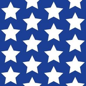 White stars on blue