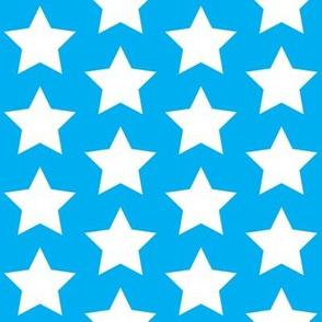 white stars on cyan
