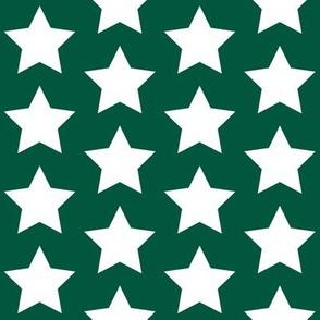 white stars on forest green