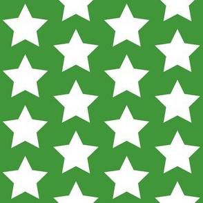 white stars on light green