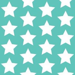 white stars on light teal