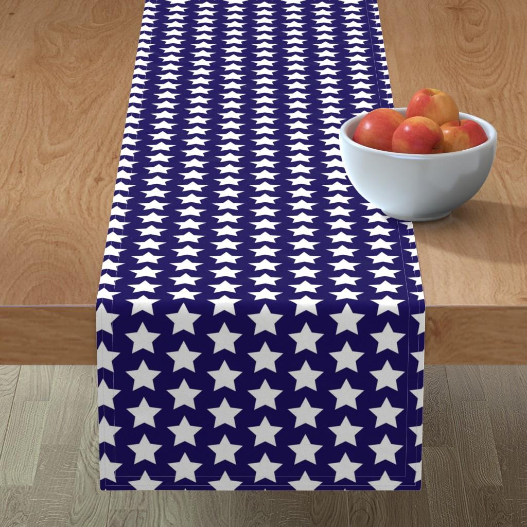 Minorca Table Runner featuring white stars on navy by rebelinn
