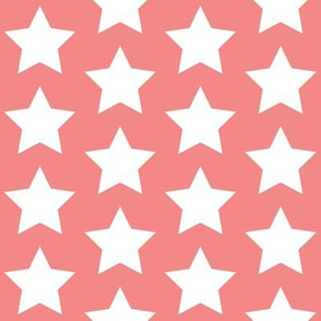 white stars on salmon pink