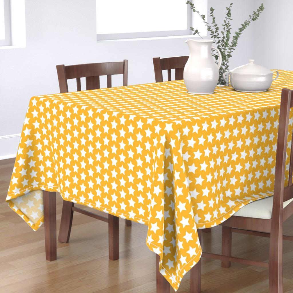 Bantam Rectangular Tablecloth featuring white stars on yellow gold by rebelinn