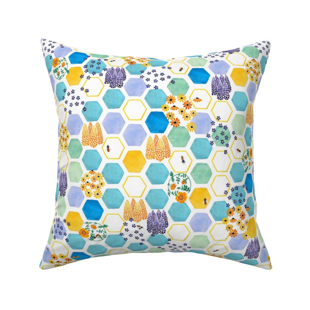Catalan Throw Pillow featuring honeycomb bees by karinka