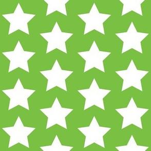 white stars on lime