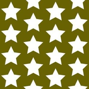 white stars on olive