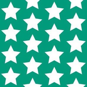 white star on teal