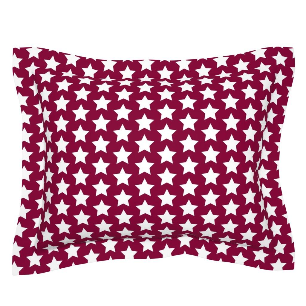 Sebright Pillow Sham featuring white stars on maroon by rebelinn