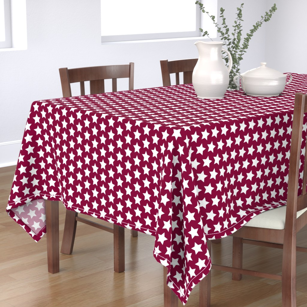 Bantam Rectangular Tablecloth featuring white stars on maroon by rebelinn