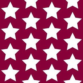 white stars on maroon