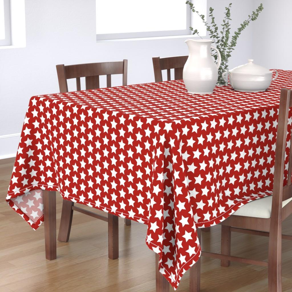 Bantam Rectangular Tablecloth featuring white stars on scarlet by rebelinn