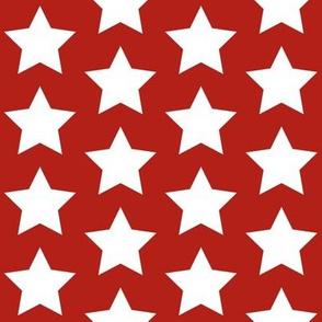 white stars on scarlet