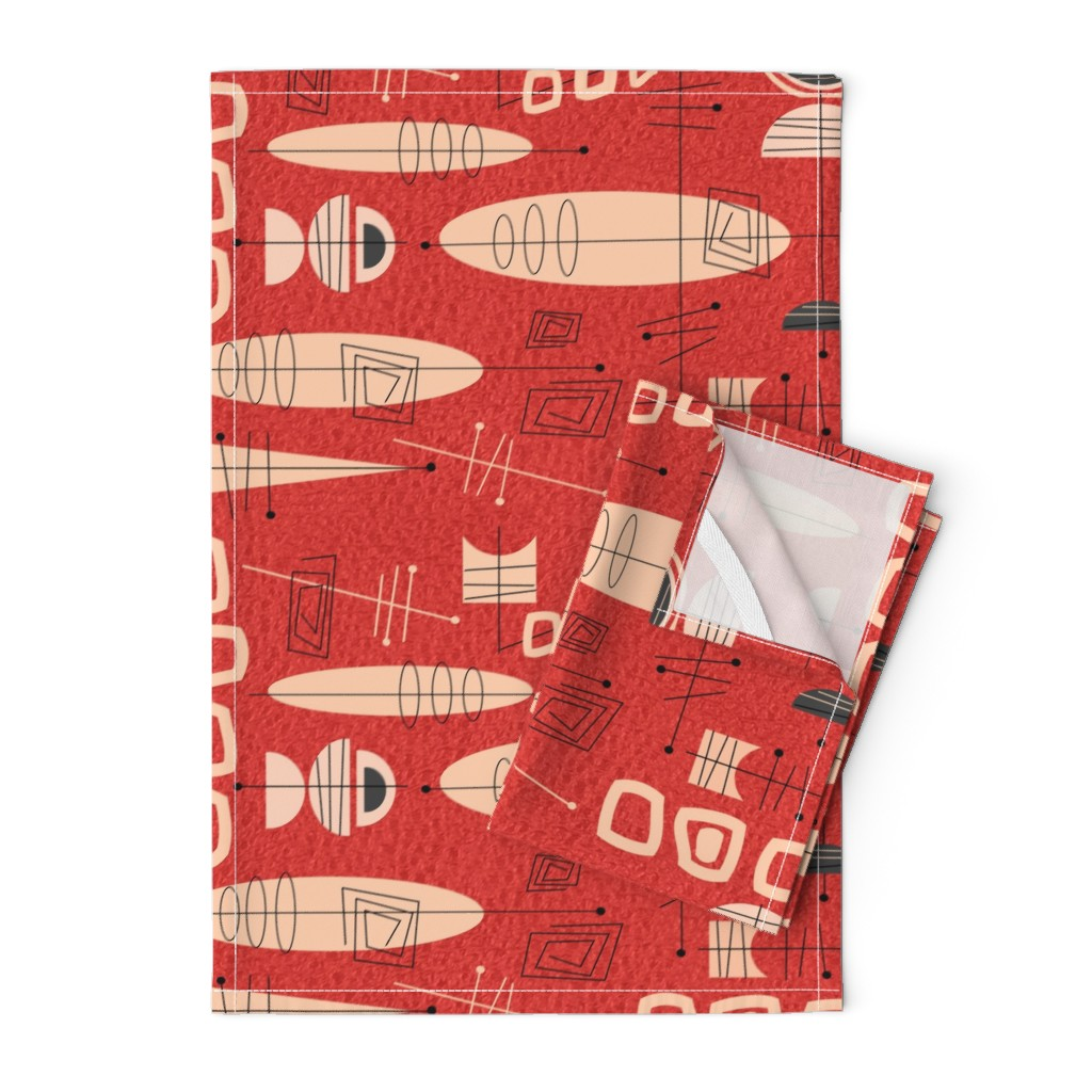 Orpington Tea Towels featuring Mid-Century Atomic in Red by hot4tees_bg@yahoo_com