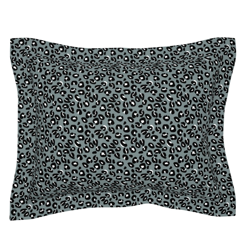 Sebright Pillow Sham featuring Leopard Spots Grey by paper_and_frill