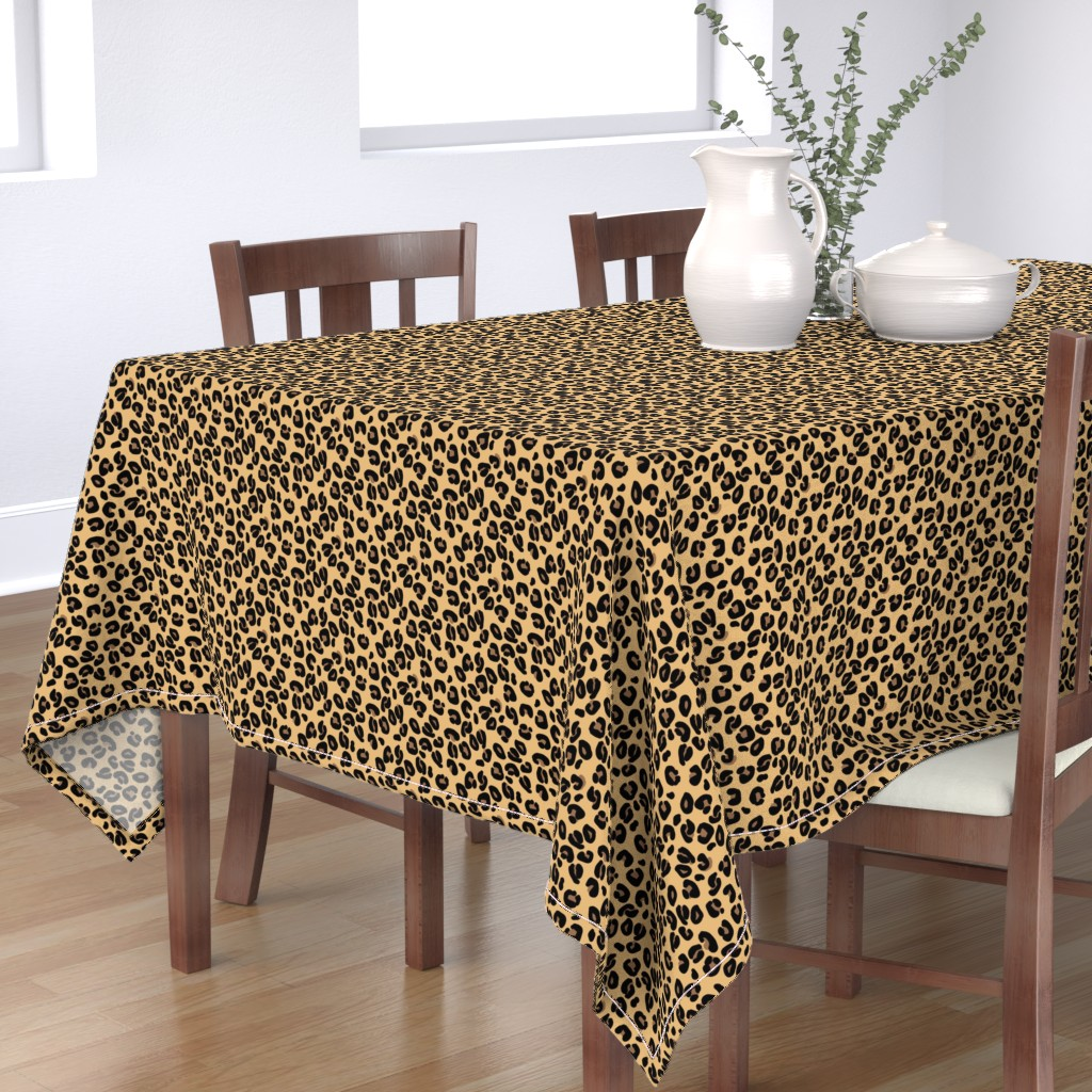 Bantam Rectangular Tablecloth featuring Leopard Spots Classic Beige by paper_and_frill