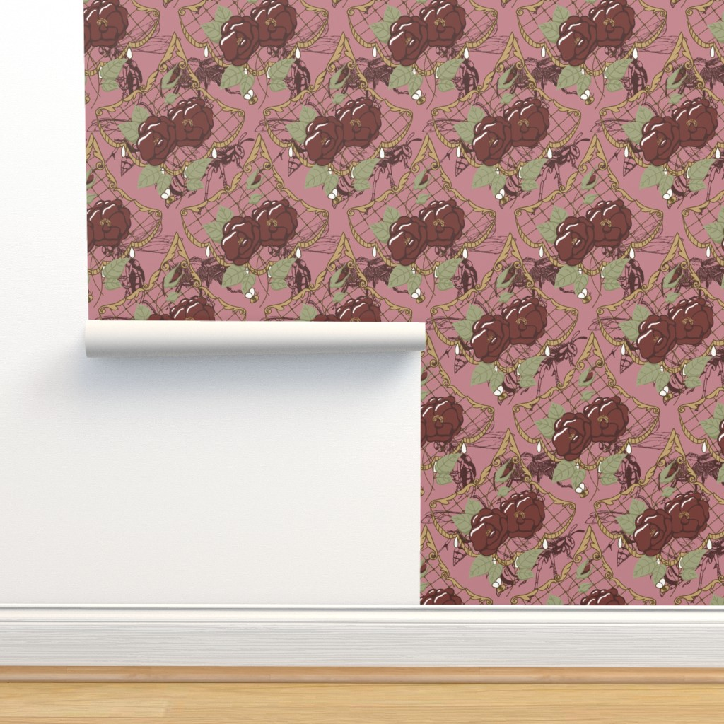 Isobar Durable Wallpaper featuring Dark Scalloped Floral Pink by liliflorapretty