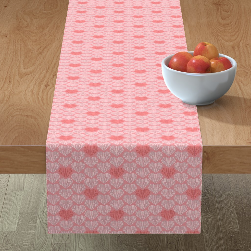 Minorca Table Runner featuring Delicate Heart - Love Valentine's Day Pink by heatherdutton