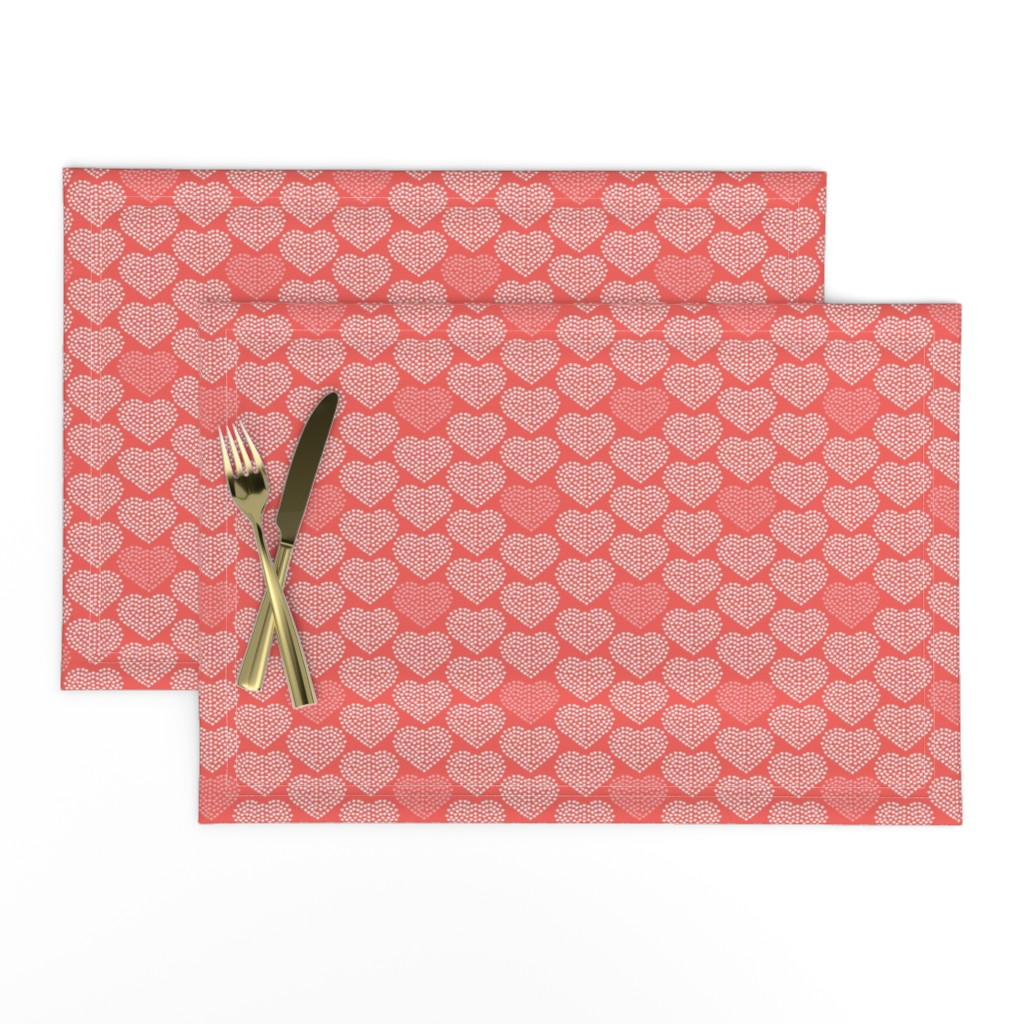 Lamona Cloth Placemats featuring Delicate Heart - Love Valentine's Day Red by heatherdutton