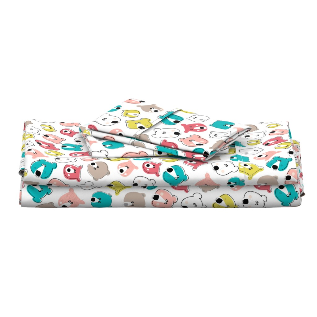 Langshan Full Bed Set featuring Happy Days Little Bears - Bright  by michellemanolov