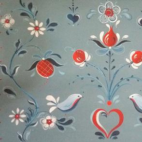 Blue bird red placemat