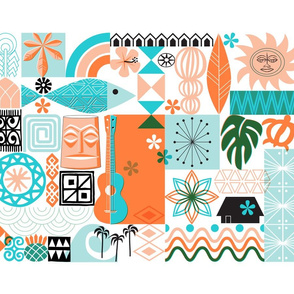 na paila Tea Towel* (Orange and Turquoise) || Hawaii Hawaiian sun beach tropical palm trees atomic midcentury modern leaves flowers ukulele fish honu sea turtle rainbow tiki tribal waves ocean cut and sew kitchen bar