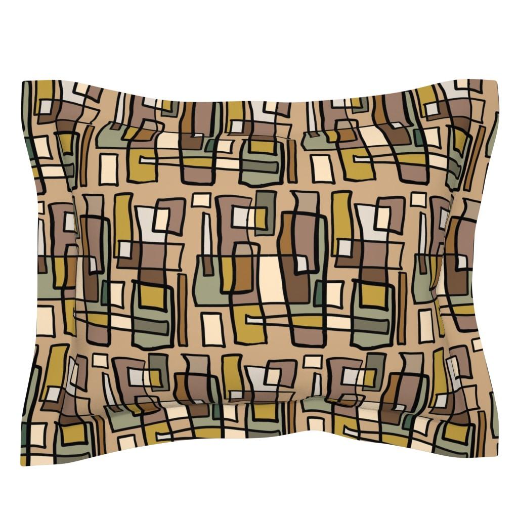 Sebright Pillow Sham featuring Rectangle Neutral by kiagardnerdesignstudio