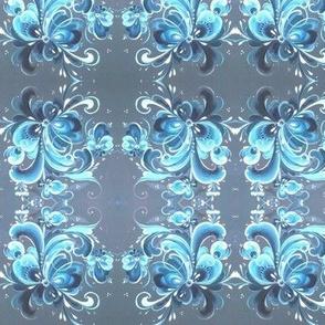 Telemark blue Norwegian Rosemaling