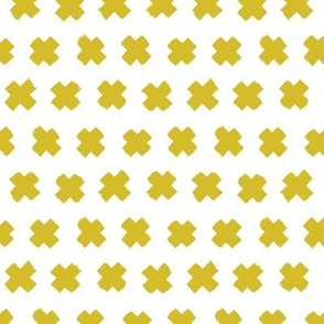 Gender neutral yellow mustard cross and abstract plus sign geometric grunge brush strokes scandinavian style print SMALL