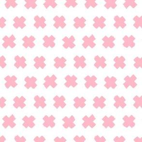 Soft blush pink girls cross and abstract plus sign geometric grunge brush strokes scandinavian style print SMALL