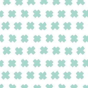 Gender neutral mint cross and abstract plus sign geometric grunge brush strokes scandinavian style print SMALL