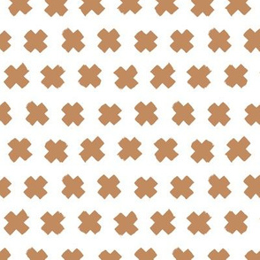 Gender neutral brown cross and abstract plus sign geometric grunge brush strokes scandinavian style print SMALL