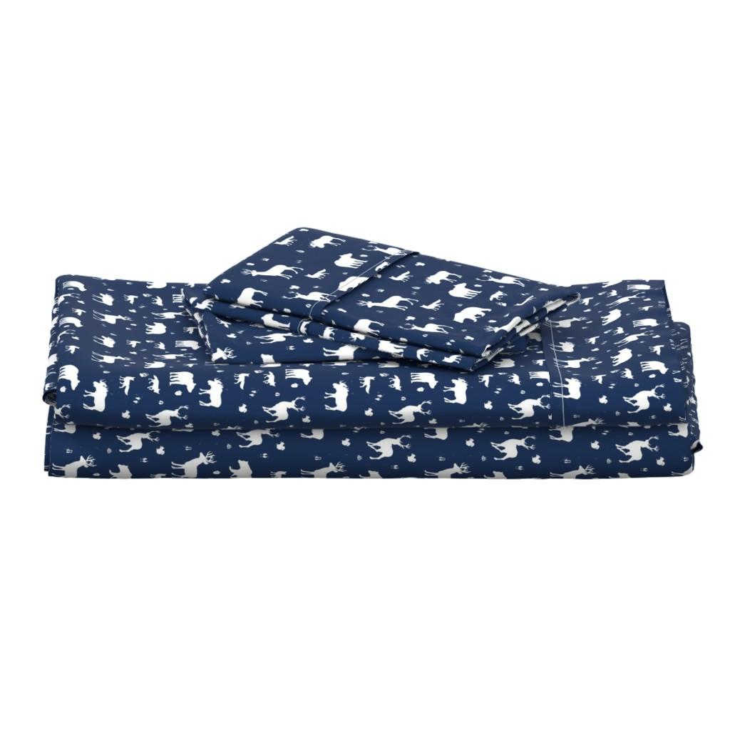 Langshan Full Bed Set featuring woodland animals // midnight by buckwoodsdesignco
