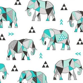 Elephants Geometric with Triangles Mint green
