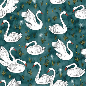 white swans on deep blue watercolor