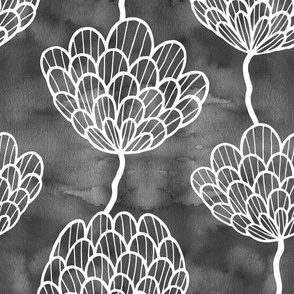 Graphic flowers on watercolor black