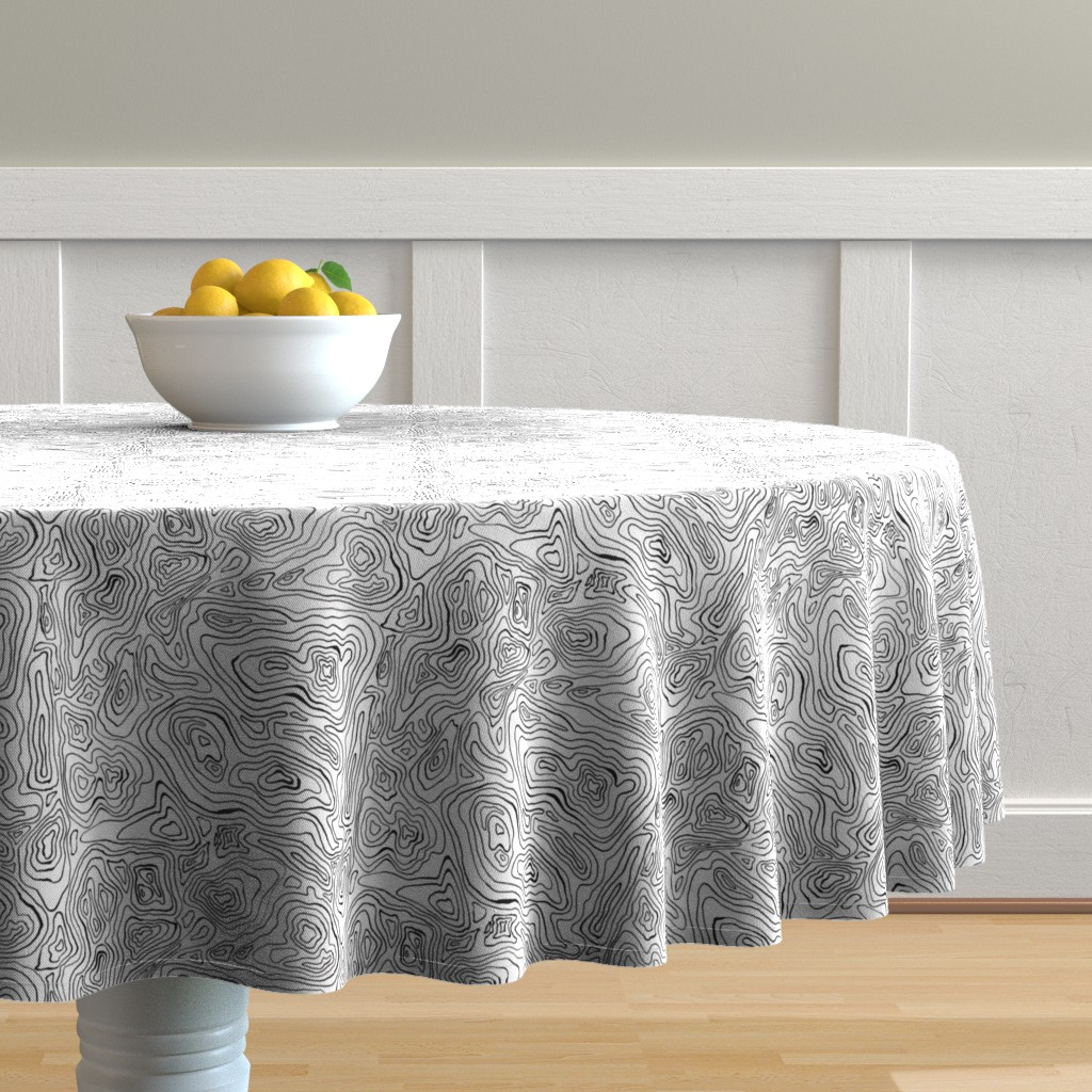 Malay Round Tablecloth featuring Mapping Contours_ by woodledoo