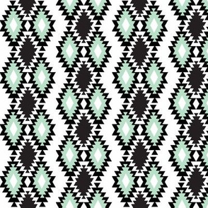 Southwestern Aztec - Black and Mint