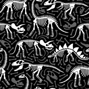 Dinosaurs and bones (black)