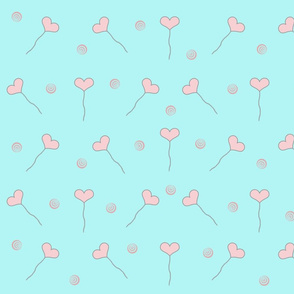 Pink Heart Balloons with Swirls