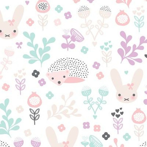 Adorable spring blossom flower garden easter bunny and hedgehog illustration print for little girls