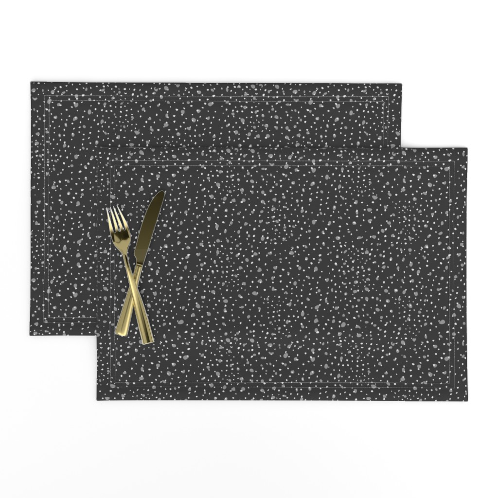 Lamona Cloth Placemats featuring Dots and big splashes on black by zebra_finch