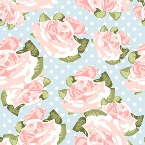 Pink Roses with Blue Polka Dots