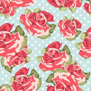 Red Roses with Blue Background
